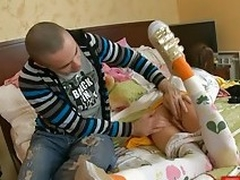 Teen floozy gaping together with sucking guy