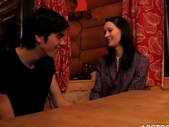Amazing sex session with a skinny dark brown on someone's skin wooden table