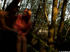 Adorable, yet horny amateur skinny sweetheart begins sex on the log