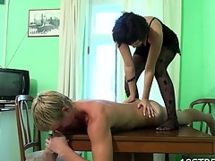 Horny dark brown strips and bonks with her stud on embark on