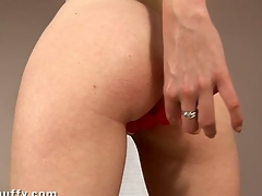 Nasty darling is stuffing the vacuum chitter into her twat