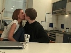 Legal Age Teenager pair uses table in the kitchen in order to have a joy hawt sex