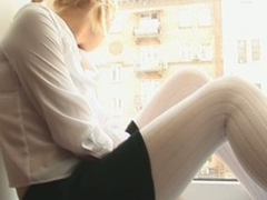 Blond Alice is giving herself a sexual test with her fingers increased by toys