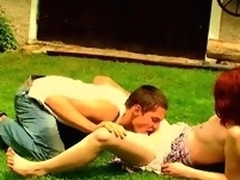 Filthy redhead hooker is fucking with her partner surpassing the grass