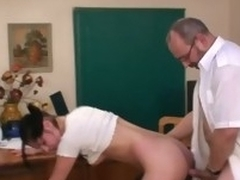 Old tutor is getting a hard boner from teaching low-spirited chicks
